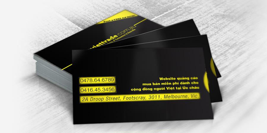 Mẫu thiết kế danh thiếp cho công ty Viettrade tại Úc