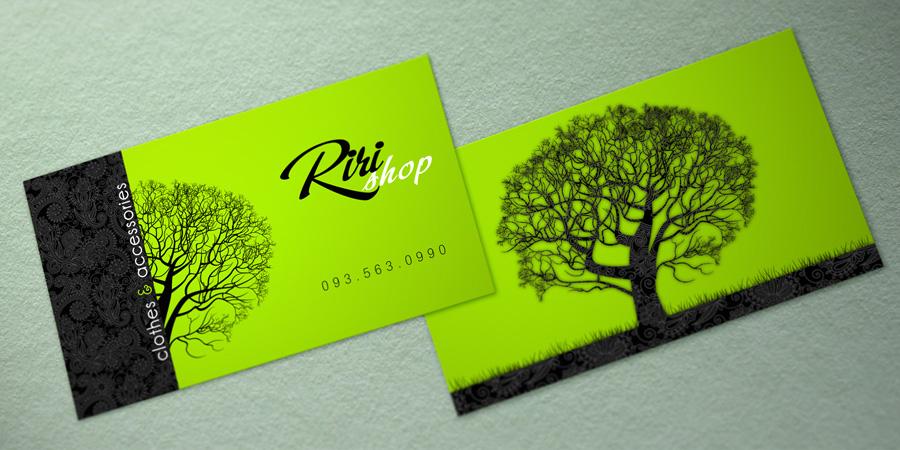 Riki Shop Name Card Những mẫu danh thiếp xanh với thông điệp bảo vệ môi trường