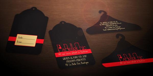 Danh thiếp đặc biệt hình chiếc móc áo, price tag cho Labella
