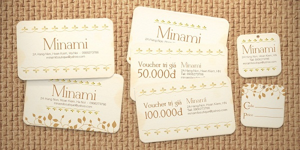 Minami card visit, voucher, tag giá