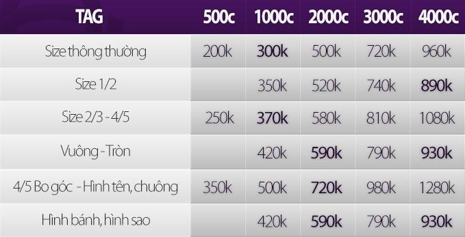 Bảng giá in Tag 2014