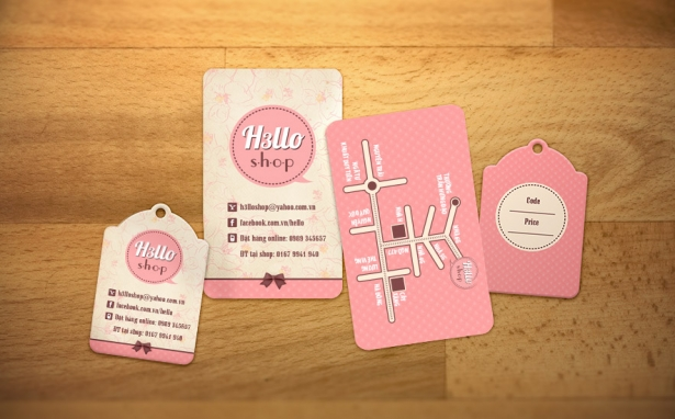 H3llo Shop – Name Card & Price Tag
