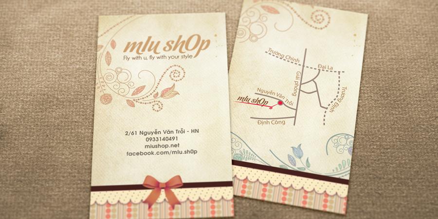 In bản đồ trên danh thiếp Miu Shop