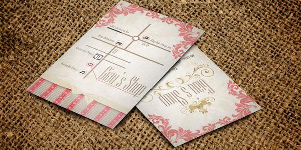 Bản đồ vẽ theo thiết kế name card của shop thời trang Giàu