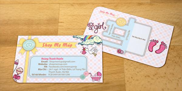 Bản đồ được thiết kế đặc biệt trên mặt sau danh thiếp Shop Mẹ Múp