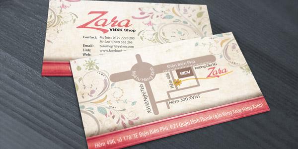 Phong cách thiết kế bản đồ đồng bộ với name card Zara Shop