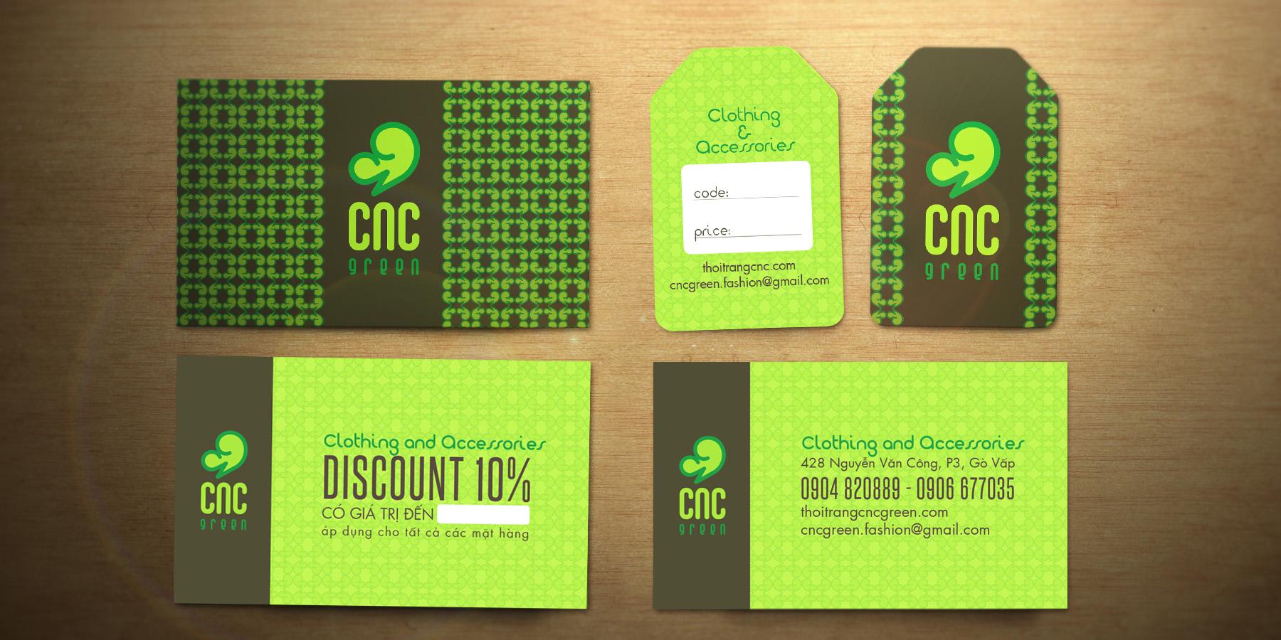 Danh thiếp, mác giá, discount card CNC Green Shop