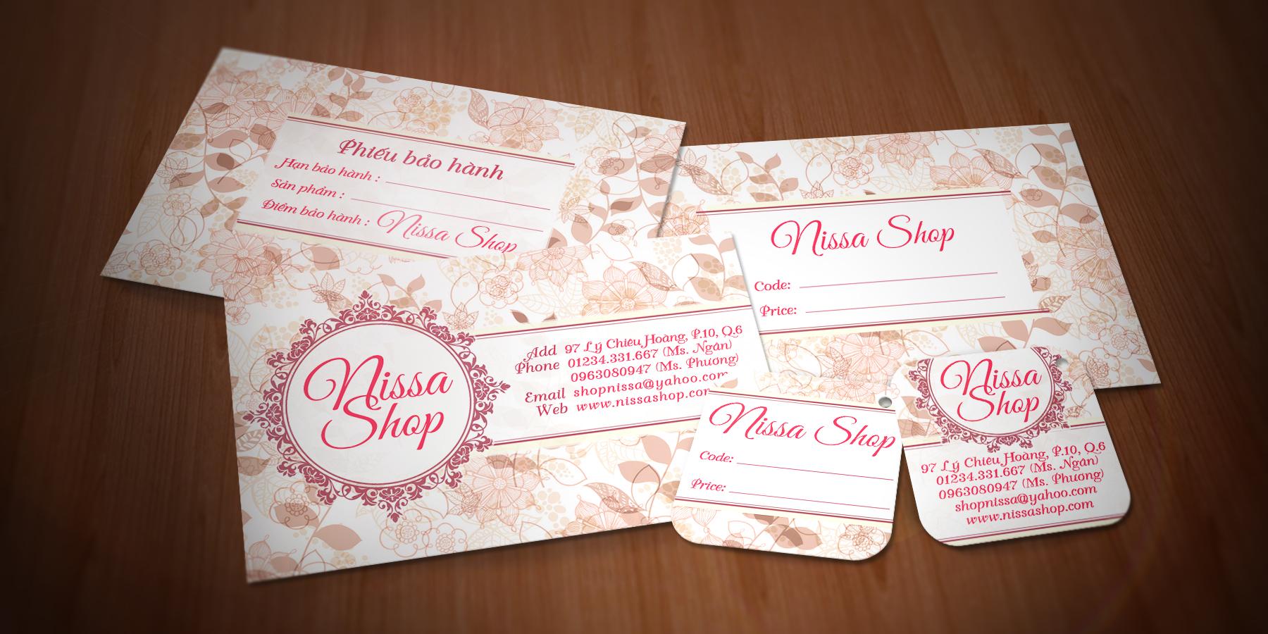Nissa Shop - Danh thiếp, Mác quần áo