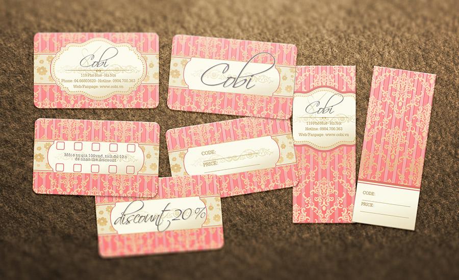 Cobi Shop - Name Card, Price Tag, giảm giá, Thẻ Tích Điểm
