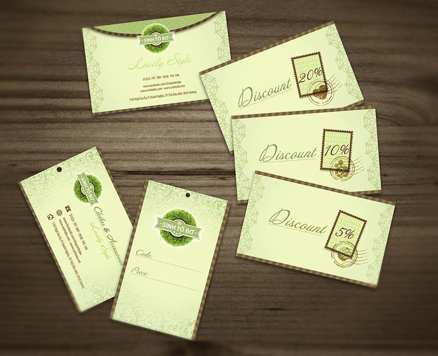 Logo, danh thiếp và thẻ giảm giá của shop Sinh Tố Bơ